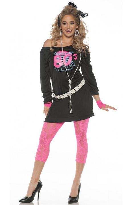 Awesome outfit includes screen printed off the shoulder mini dress, lace leggings, belt, leg warmers, and lace gloves. Eighties Costume, 80s Party Costumes, 80s Halloween Costumes, Easy 80s Costume, 80s Rocker Costume, 80s Girl Costume, Eighties Party, Halloween 2016, 80s Dress