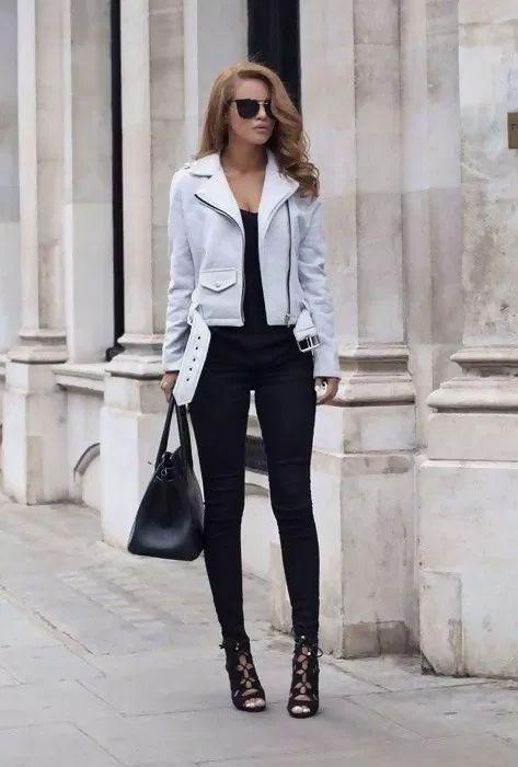 Le Meilleur Street Style White Leather Jacket Outfit Jacket Outfit Women White Leather Jacket