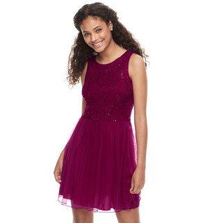 7d6578c47a2 Juniors  Speechless Lace Scallop Hem Shift Dress