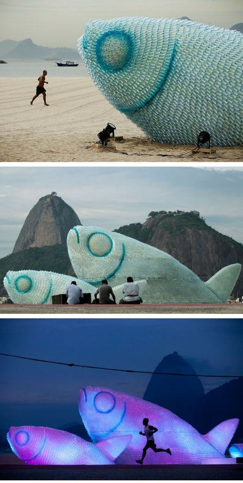 Giant Fish Sculptures Made from Discarded Plastic Bottles in Rio. The giant artwork was part of the UN Conference on Sustainable Development, which was held in Rio between between 19-22 June. The sculptures serve as a reminder for beach-goers to recycle plastic bottles in order to reduce the amount of waste that ends up in our oceans.