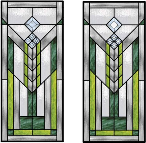 Stained Glass Sun Catcher Frank Lloyd Wright Inspired With Confetti and Antique Glass