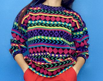 Vintage 90s 80s Multicolored Rainbow Striped Pattern Knit