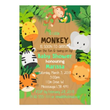 jungle theme invitation baby shower