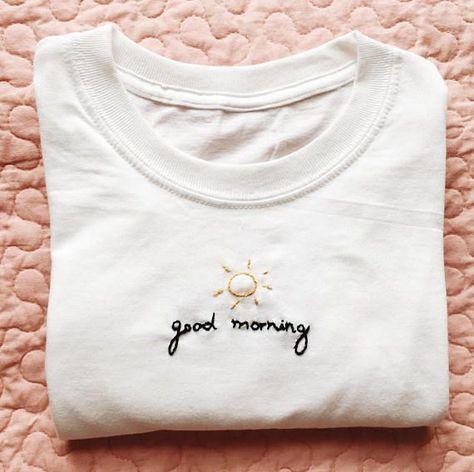 Guten Morgen bestickte T-Shirt - #bestickte #Guten #Morgen #TShirt