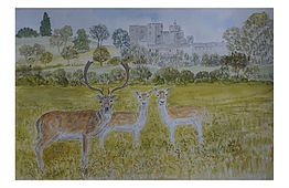 Painting Of Powderham Castle Devon With Fallow Deer Stag And Doe Art For Sale Painting Castle Painting Artwork Painting