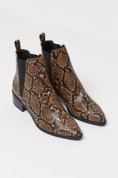 Ankle Boots Lt Brown Snakeskin Patterned Ladies H M Us Ankle Boots Boots Ankle