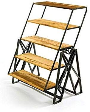Amazon Com Bs Transforming Table Etagere Bookcase Convertible Dining Table Console Shelves Wood And Metal Bookshelf In 2020 Metal Bookshelf Etagere Bookcase Bookcase
