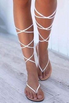 Lace-Up Block Heel Thong Lace-Up Professional Sandals