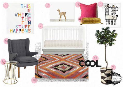 Where the fun stuff happens {modern girl nursery design} Babyletto crib Harlow acrylic crib, kilim rug in a nursery, fiddle leaf fig, The Animal Print Shop baby alpaca