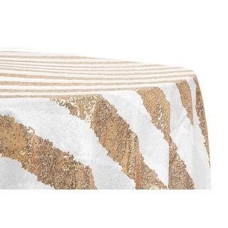 12 Pieces Glitz Sequin 120 Round Tablecloth Stripe Gold White With Images 120 Round Tablecloth Round Tablecloth Wholesale Tablecloths