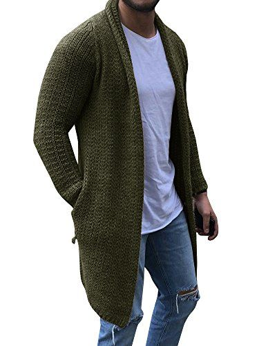 Mens Knitted Cardigan Chunky Knit with Full Zip Front Closure Collared Neck Front Pockets