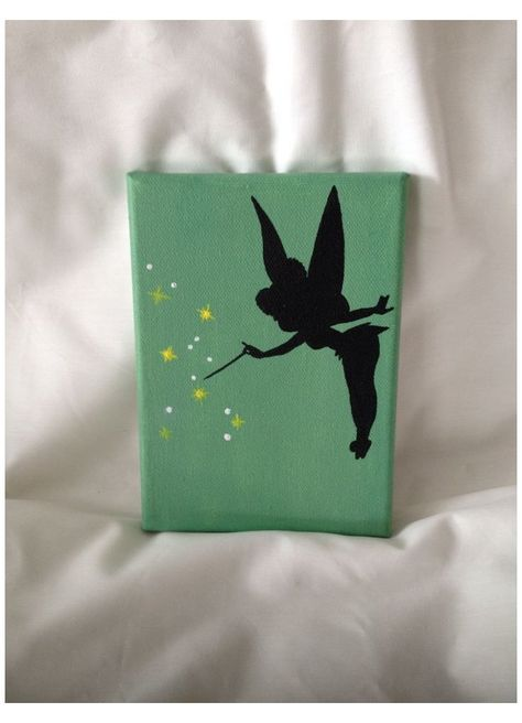 #disney #paintings #acrylic #canvases #disneypaintingsacryliccanvases Disney Tinkerbell Silhouette Painting Acrylic on Canvas Disney Canvas Paintings, Disney Canvas Art, Small Canvas Art, Cute Paintings, Mini Canvas Art, Easy Canvas Painting, Painting Art, Canvas Canvas, Sillouette Painting