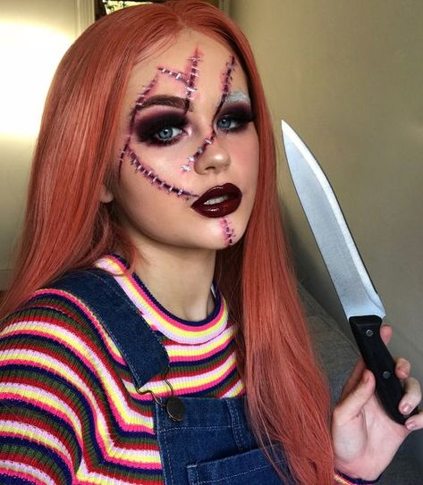Fantasias Halloween - - Festival make up - Halloween Ideas Chucky Halloween, Cute Halloween Makeup, Halloween Eyes, Creative Halloween Costumes, Halloween Outfits, Halloween Costumes Women Scary, Diy Chucky Costume, Halloween Inspo, Halloween 2019