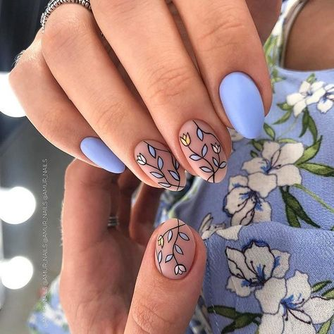 35 Outstanding Classy Nails Ideas For Your Ravishing Look - ❤ Nail Art - Sweet Pastel Blue Nails With Leaves Art ❤ 35 Outstanding Classy Nails Ideas For Your Ravishing Lo - Classy Nails, Stylish Nails, Cute Nails, My Nails, Pretty Nails, Classy Nail Designs, Short Nail Designs, Oval Nail Designs, Different Nail Designs