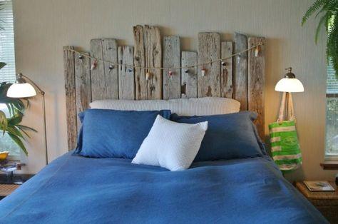 Tête de lit bois flotté pour une chambre d\'ambiance naturelle | Tête ...