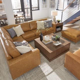 Bastian Aniline Leather Caramel L Shaped Sectionals by