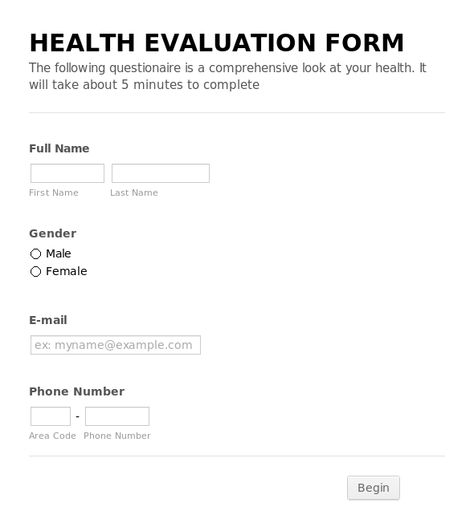 Health Evaluation Form Health Evaluation Form  Health