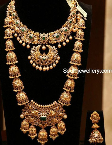 Uncut Diamond Necklace and Haram - Indian Jewellery Designs