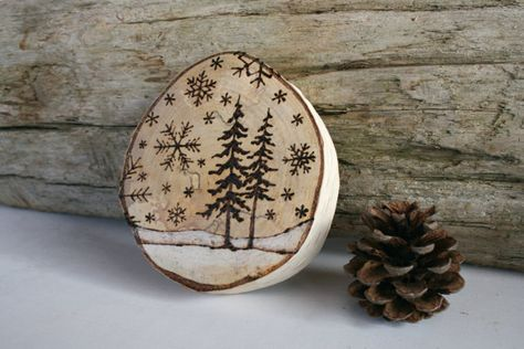 Original Woodburning Art on Large Birch Round