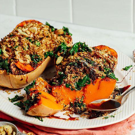 AMAZING Stuffed Butternut Squash with Quinoa, Mushrooms, Kale, and a Balsamic Glaze! 10 ingredients, SO comforting! #vegan #glutenfree #butternutsquash #thanksgiving #minimalistbaker #recipe
