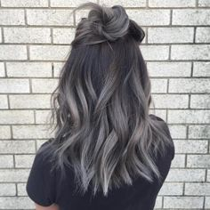 Dark grey hair colour.