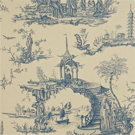 Sanderson Carta Da Parati.Sanderson Stairway To Heaven In Blue And Stone Chinoiserie Sogni