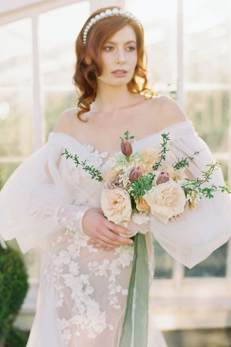 The beauty of the Camellia flower inspired this ultra-feminine shoot with secret garden allure! @bluerosepictures took inspiration from the ever-romantic camellia flower and transformed @christiansonsnursery into a charming venue with a secret garden allure. #stylemepretty #weddingdress #springwedding #weddingflowers