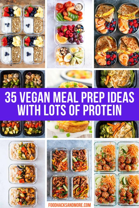 High Protein Vegan Meal Prep Recipes - FoodHacksandMore - In this post you'll find some of the best protein sources and meals that are perfect for vegans. Protein Dinner, High Protein Meal Prep, High Protein Vegetarian Recipes, High Protein Snacks, Vegan Dinner Recipes, Vegan Dinners, Easy Healthy Recipes, Protein Recipes, Protein Sources For Vegans