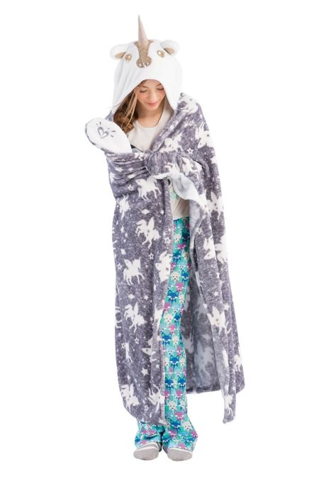 I need this Cozy Hooded Sequin Unicorn Blanket