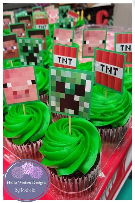 Minecraft cupcake toppers--  Send me a message at my facebook page or check out my ETSY page and send a request