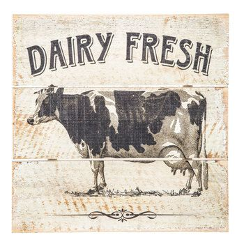 Dairy Fresh Cow Wood Wall Decor in 2019