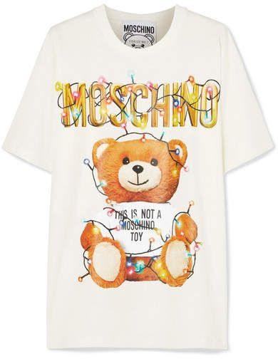 New Men/'s Funny Womens Moschino Short Sleeves Tops Bear Printed T-shirt