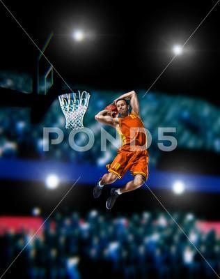 Basketball Player Making Slam Dunk On Basketball Arena Premium Photo 92219539 Basketball Players Slam Dunk Slam Basketball