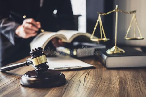 Photo about Judge gavel with Justice lawyers, Lawyer or Judge counselor working with agreement contract in Courtroom, Justice and Law concept. Image of document, gavel, contract - 125601725