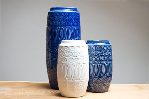 Set of 3 vases by Scheurich made in the 1960's.