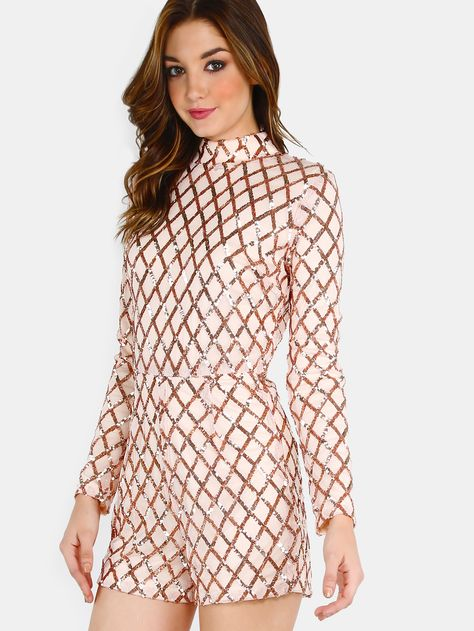 To find out about the Mock Neck Sleeved Sequin Romper BLUSH at SHEIN, part of our latest Jumpsuits ready to shop online today!