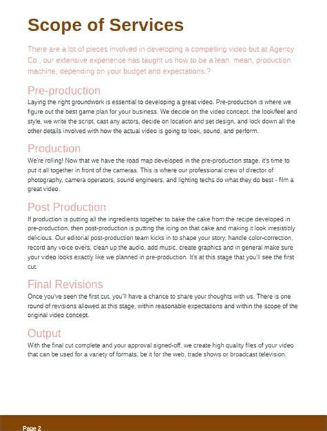 Sample Videography Contract Template Wedding Photography