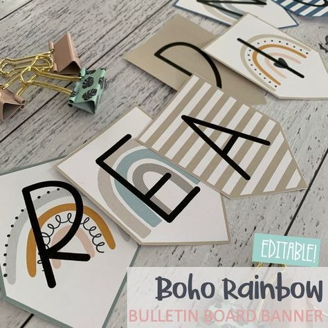 "Keep your classroom looking good and ""on trend"" with this Boho Rainbow Classroom Decor bundle. It's suitable for all grade levels and many parts are editable too! Included are number posters, teacher toolbox labels and more. Check it out!"