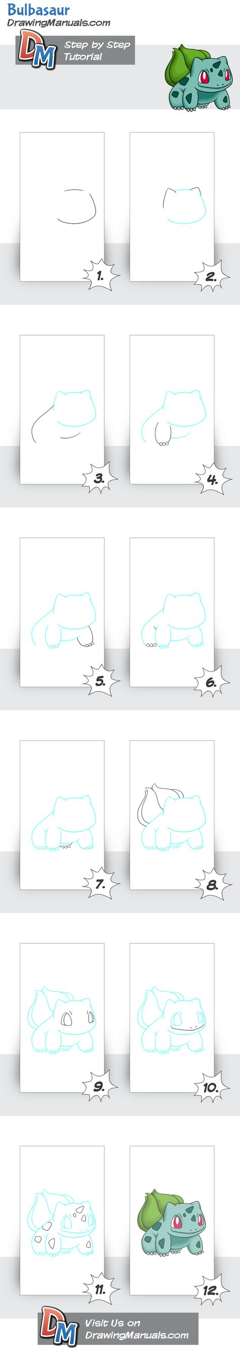 How to Draw Bulbasaur-Pokemon step-by-step guideline http://drawingmanuals.com/manual/how-to-draw-bulbasaur-pokemon/ #pokemon