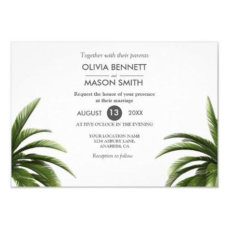 Tropical Palm Tree Green Wedding Card #palmtreewedding #elegantbeachwedding #vintagebeach #retrobeach #destinationwedding #havanapalm #coastalwedding #hawaiiwedding #floridapalmwedding #palms
