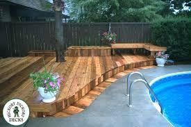 Wood Deck Next To Pool Google Search Inground Pool Landscaping Backyard Pool Landscaping Pool Landscaping