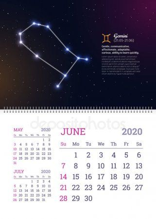 Wall Calendar For June 2020 Year Stock Vector Affiliate