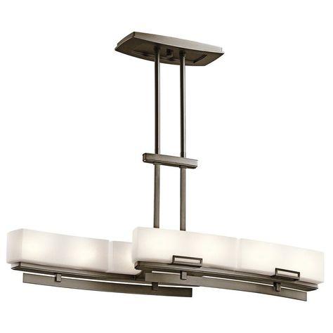 b0f677b2056 Kichler 42427 Leeds Single-Tier Linear Chandelier with 8 Lights - Stem  Included Shadow Bronze Indoor Lighting Chandeliers