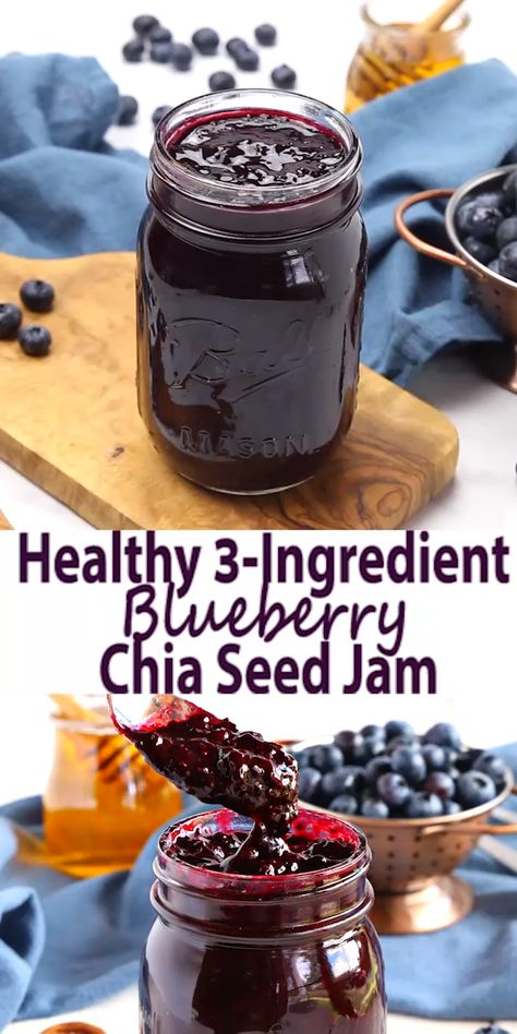This Healthy 3-Ingredient Chia Seed Blueberry Jam is a great healthy alternative to conventional jam! It's made with 3 healthy, natural, whole-food ingredients and it's quick and easy to make! Recipe from thebusybaker.ca! #chiaseedjam #chiaseed #blueberry #jam #homemade #easyrecipe #recipevideo #canning #preserving