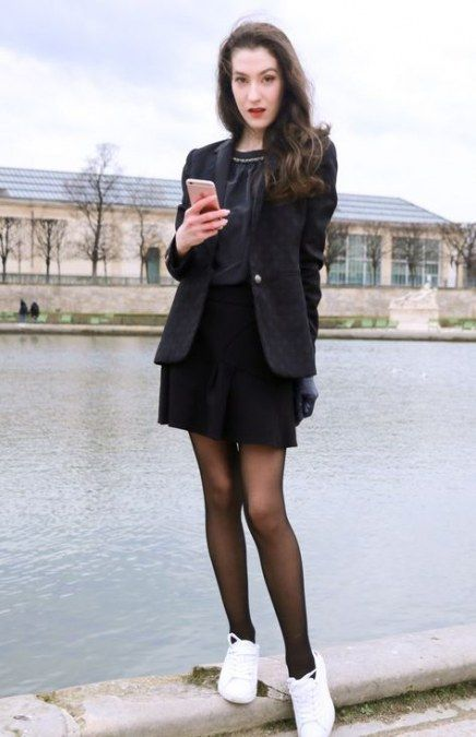 To Wear Tights With Sneakers Outfit