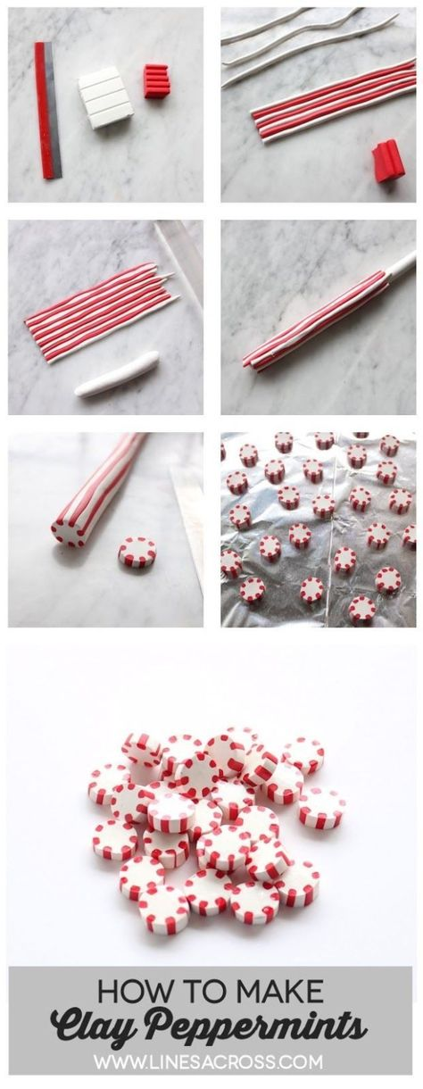 Lines across: Polymer Clay Peppermint Candies. - Lines across: Polymer Clay Peppermint Candies. Could be great for Christmas garlands and ornaments. Polymer Clay Kunst, Polymer Clay Canes, Polymer Clay Miniatures, Fimo Clay, Polymer Clay Projects, Polymer Clay Creations, Polymer Clay Jewelry, Polymer Clay Ornaments, Clay Earrings