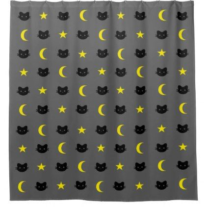 Kitty Cat Moon And Stars Shower Curtain Zazzle Com Curtains Bathroom Shower Curtains Stars