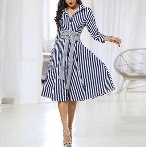 Striped Long Sleeve Knot Waist Shirt Dress - c.