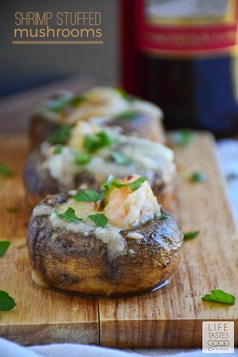 Shrimp Stuffed Mushrooms | by Life Tastes Good is shrimp sauteed in garlic butter carefully stuffed inside mushroom caps and smothered in melted mozzarella cheese is a deliciously elegant appetizer for any occasion. #SundaySupper