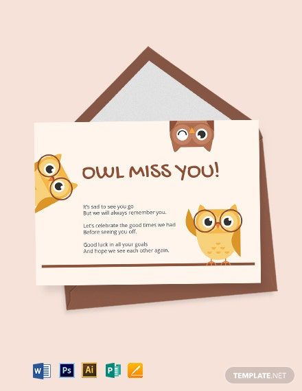 Cute Farewell Card Template Free Jpg Illustrator Word Apple Pages Psd Publisher Template Net Farewell Cards Cards Card Template